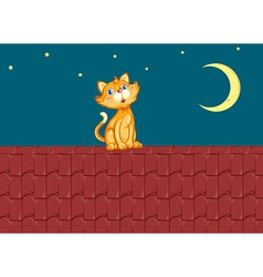 Cat and roof vector
