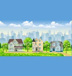 Cityscape with three classic houses vector
