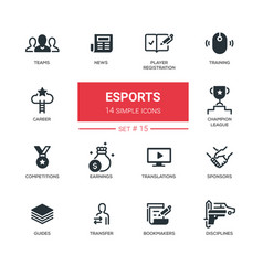 Esports - modern simple thin line design icons vector