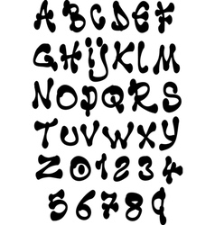 Fat liquid font and number alphabet over white vector