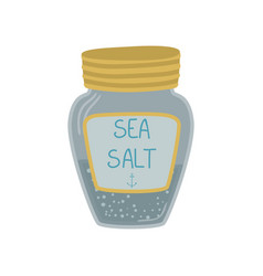 Glass jar of sea salt cartoon vector
