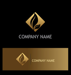 gold leaf icon logo vector image vector image