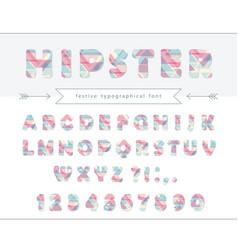 Hipster vibrant font stylized letters and numbers vector