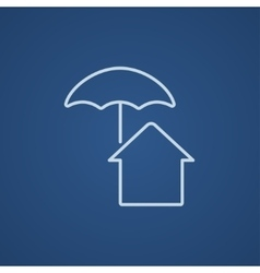 House under umbrella line icon vector image vector image