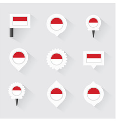 Indonesia flag and pins for infographic and map vector