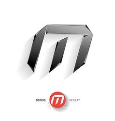 Letter m metal font elegant template for company vector
