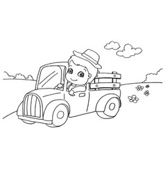 Little boy driving a toy car coloring page vect vector