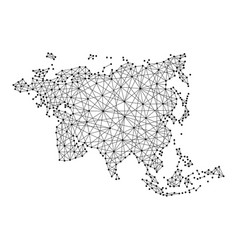 Map of eurasia from polygonal black lines and dots vector