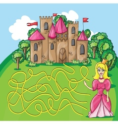 Maze game - hehp princess find the way to her vector image vector image