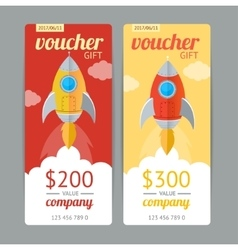 Modern Gift Voucher with Rocket Fly vector image