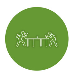 ping pong players with table silhouette vector image