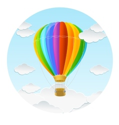 rainbow air ballon and clouds vector image vector image