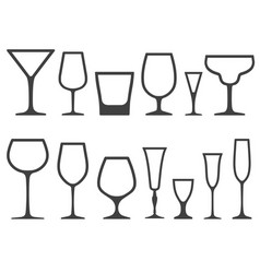 set of empty different shapes wineglass and glass vector image vector image