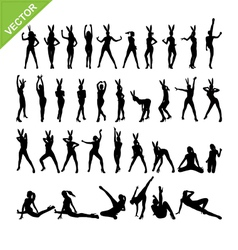 Sexy women and dancing silhouettes set 13 vector image