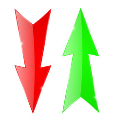 Sharp arrows green up and red down icons vector