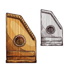 sketch gusli harp string music instrument vector image