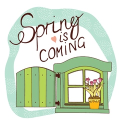 spring card with window and flowers vector image