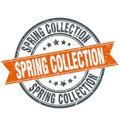 Spring collection round orange grungy vintage vector