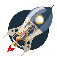 Start up concept steampunk rocket vector image vector image