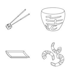 Sticks shrimp substrate bowlsushi set vector