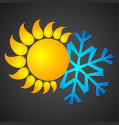 Sun and snowflake for temperature changes vector