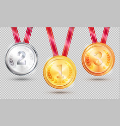 three medals on transparent vector image vector image