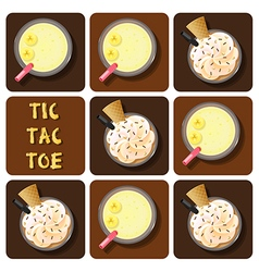 Tic-tac-toe of coffee frappe and banana smoothie vector