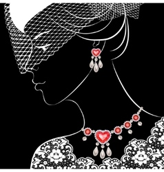 Woman with necklace and earrings vector image vector image
