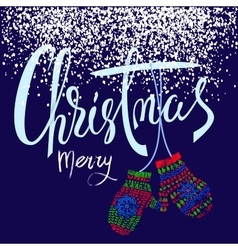 Merry christmas handdrawn lettering for christmas vector