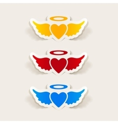 realistic design element heart angel vector image