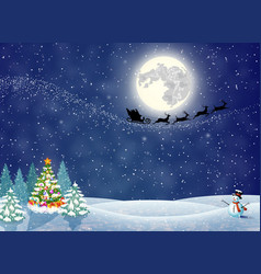 Christmas landscape at night vector
