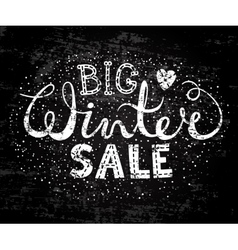 Winter big sale text lettering with heart vector