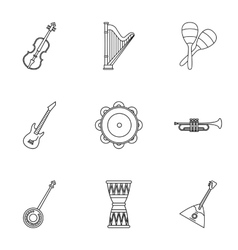 Musical device icons set outline style vector