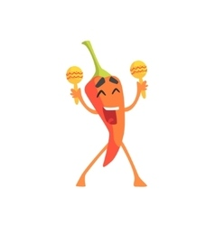 Happy red hot chili pepper humanized emotional vector