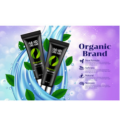 Hand cream black tube blue drop leaves background vector