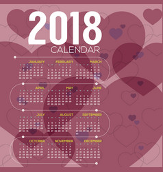 2018 pink heart pattern printable calendar vector image