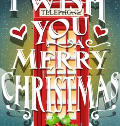 Christmas greeting card with english red cabin vector