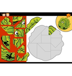 Cartoon cabbage jigsaw puzzle game vector