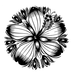 Decorative silhouette hibiscus vector