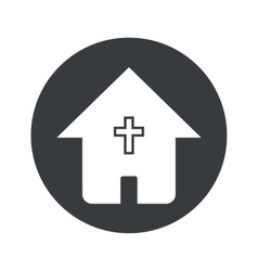 Monochrome round christian house icon vector