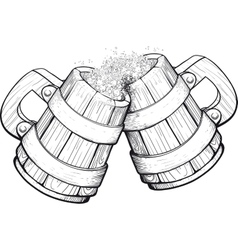 Two beer wooden mugs vector