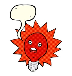 Cartoon red lightbulb with speech bubble vector