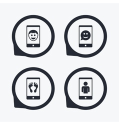 Selfie smile face icon smartphone video call vector