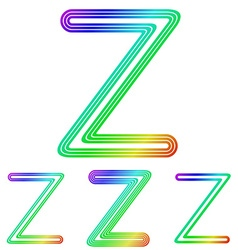 Rainbow line z logo design set vector