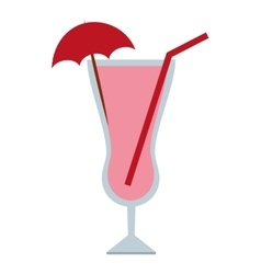 Cocktail with umbrella umbrella isolated icon vector
