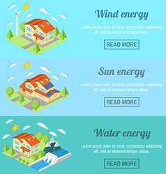 Eco energy horizontal banner set with low-energy vector image