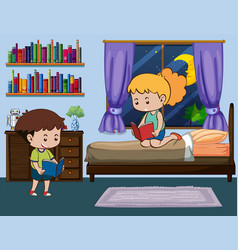Boy and girl reading book in bedroom vector