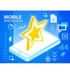 bright mobile innovations of star on blue ba vector image vector image