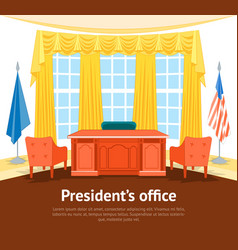 cartoon interior president government office card vector image vector image