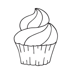 Cupcake in doodle style vector image